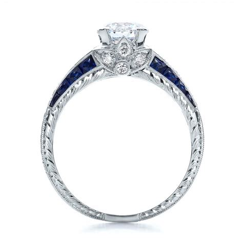 Diamond and Blue Sapphire Engagement Ring #100390