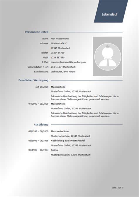 Lebenslauf Muster Modern by Lebenslauf Muster Vorlagen F 252 R Die Bewerbung 2018