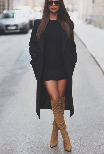 coat dress shoes black coat beige suede boots trench coat fashion