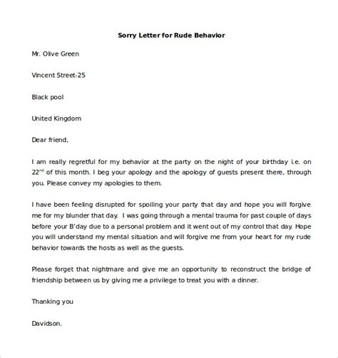 Sle Apology Letter For Rude Behavior Personal Letter Template 41 Free Sle Exle Format Free Premium Templates
