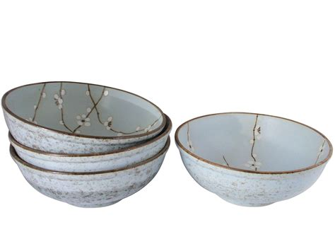 Bowl Set cherry blossom on blue japanese soup bowls set for four