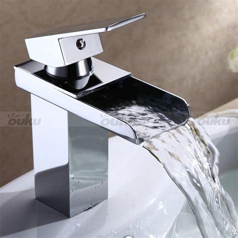 chrome finish bathroom sink faucet single handle modern waterfall mixer taps ebay