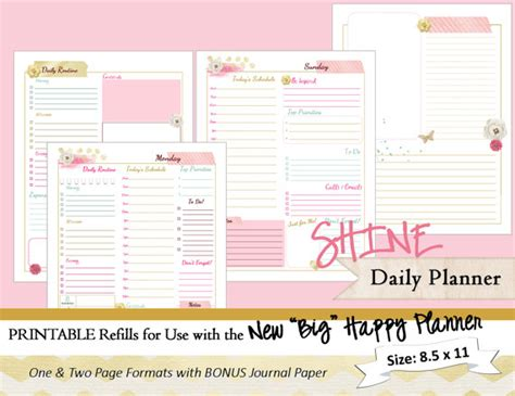 printable happy planner inserts big happy planner printable daily calendar inserts refills