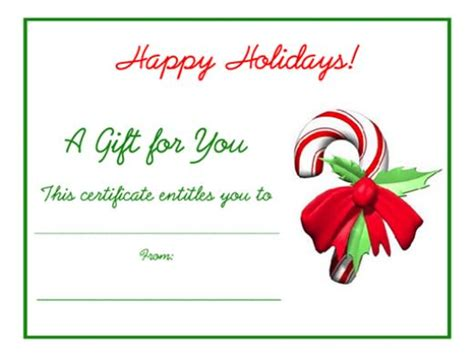 Printable Christmas Certificates | free printable certificate templates for gifts for