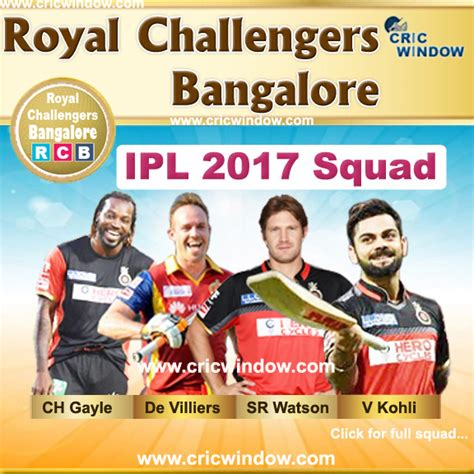 ipl 2017 bangalore team ipl 2017 live score video schedule tickets points
