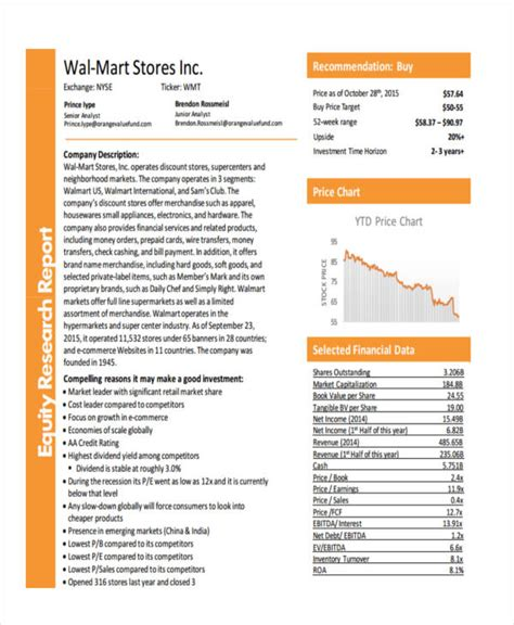 equity research report template 8 research report exles sles