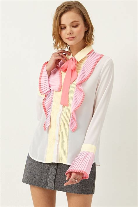 Top Silky Ribbon Side Import 5527 best images about bow blouses on blouse