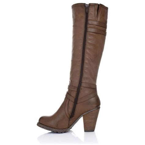 knee high brown boots buy august block heel knee high biker boots brown leather