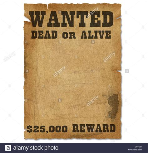 reward posters template wanted poster template with bounty reward stock photo