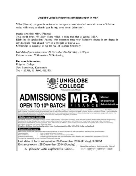 Mba Applications Open by Uniglobe College Announces Admissions Open In Mba
