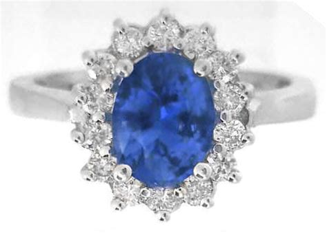 princess diana styled oval sapphire and halo ring