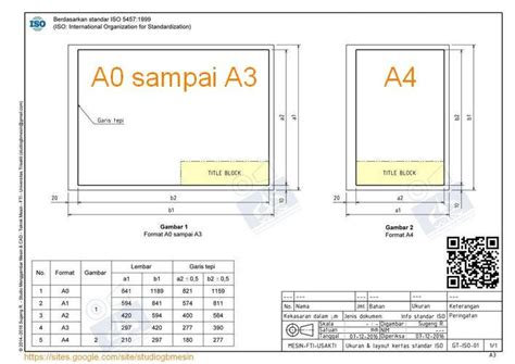 ukuran format gambar teknik ukuran dan layout kertas gambar standar iso studio
