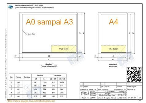 ukuran  layout kertas gambar standar iso studio
