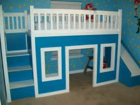 white playhouse loft bed with stairs and slide