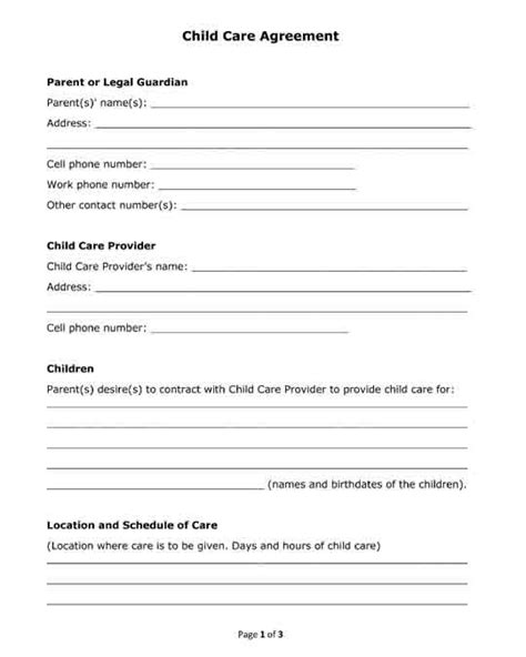 Free Printable Pdf Format Form Child Care Agreement For Babysitters Free Legal Forms Daycare Contract Templates Free