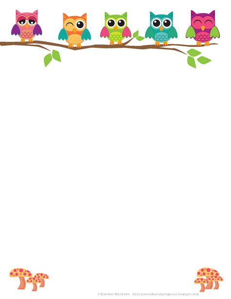 free printable owl letterhead peacocks and penguins in the classroom burning the
