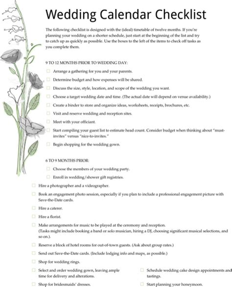 Wedding Checklist Form by Wedding Checklist For Free Formtemplate