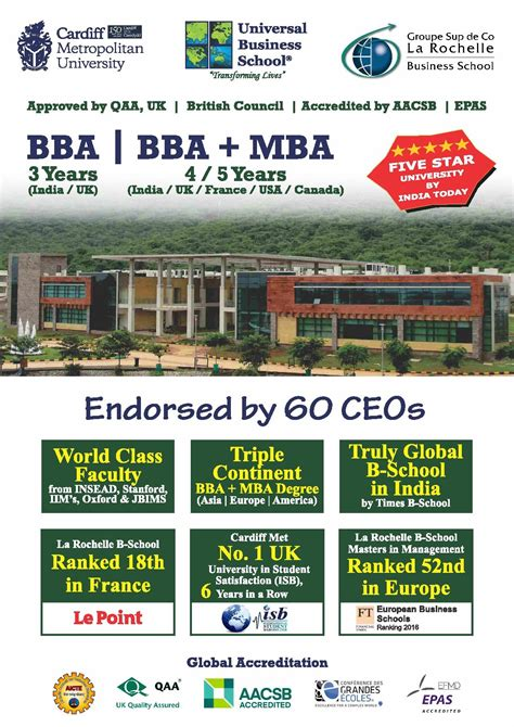 Mba Brochure 2017 by Universal Business School Ubs Karjat Admissions