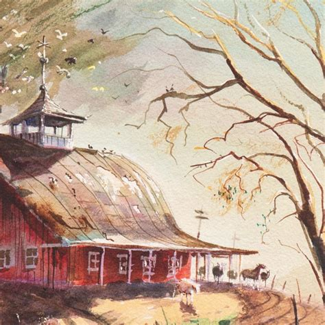 lavere hutchings early snow   dutch barn roof rural