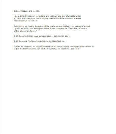 farewell letter to colleagues template farewell emails to colleagues 5 free word pdf