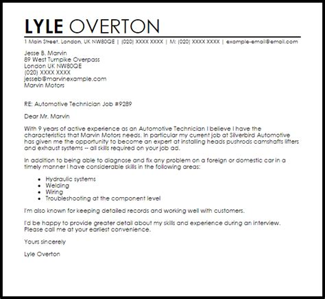 Systems Technician Cover Letter by Automotive Technician Cover Letter Sle Livecareer