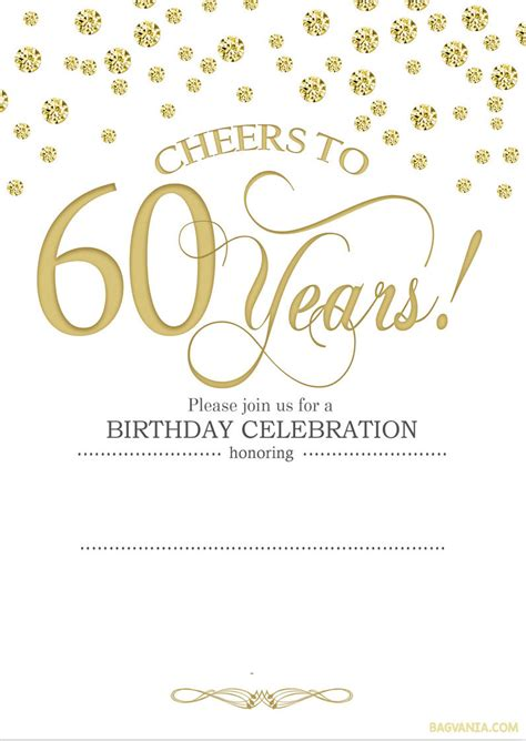 invitations for 60th birthday templates free printable 60th birthday invitation templates drevio