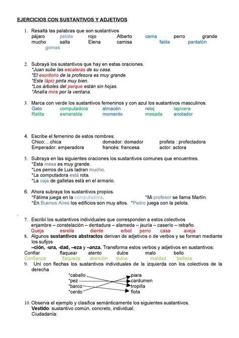 ejercicios de francs para 8467046597 calam 233 o rtejercicios con sustantivos y adjetivos 1 5