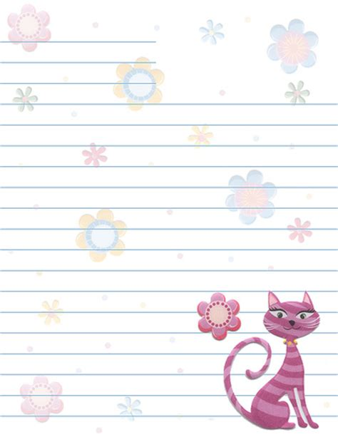cat writing paper cats flowers lined stationery flickr photo