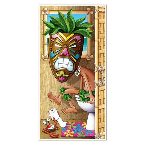 tiki bathroom decor hawaiian luau tikki man restroom toilet door cover party