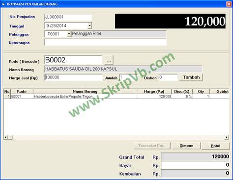 Superpack Skripsi Teknik Informatika Source Code Vb Php Javahtml program aplikasi penjualan grosir berbasis visual basic 6 dan mysql untuk skripsi teknik informatika