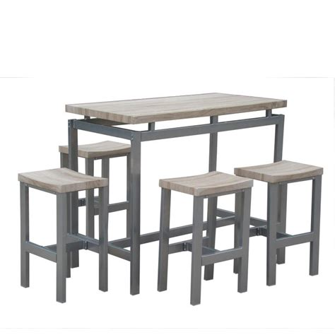 Breakfast Bar Stools Table Chairs Set Wood Metal Frame Metal Dining Room Table Sets