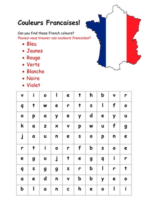 free printable word searches in french french colours wordsearch by rosiefrancesca teaching