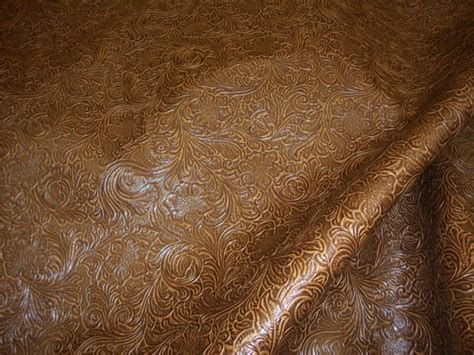 Embossed Leather Upholstery by Caramel Laredo Embossed Floral Faux Leather Vinyl