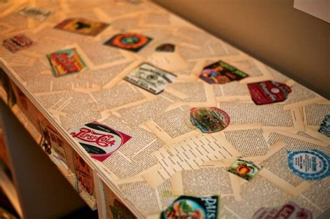 Decoupage With Book Pages - decoupage furniture using book pages and printed labels