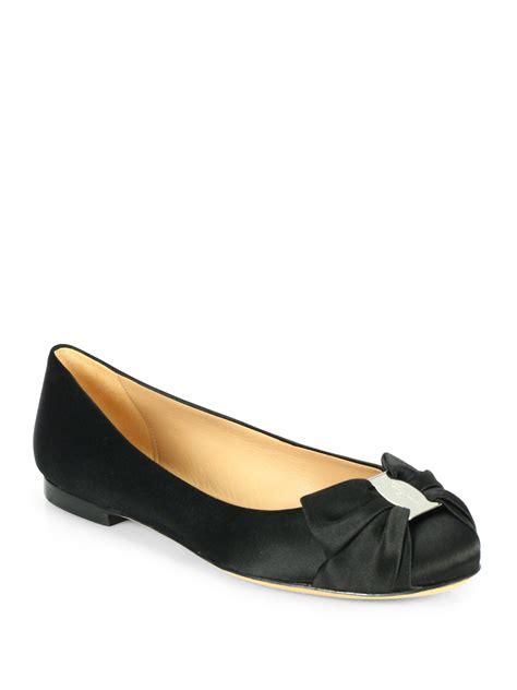 ferragamo shoes flats ferragamo satin ballet flats in black lyst