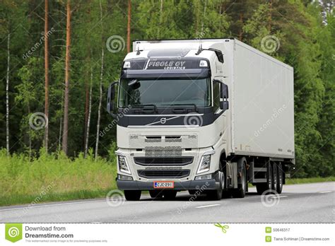brand new volvo semi truck white volvo fh truck on the road editorial photography