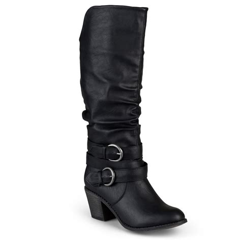 high heeled wide calf boots brinley co womens wide calf slouch buckle high heel boots