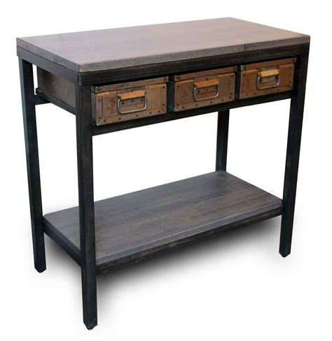 metal table with drawers console table with three metal drawers olde things