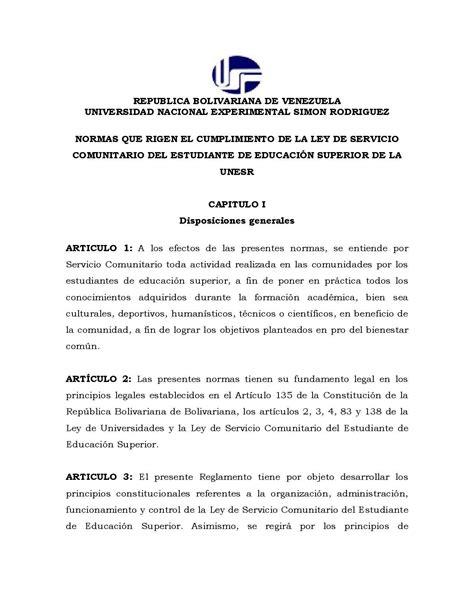 carta de servicio comunitario udo calam 233 o normas de servicio comunitario en la unesr
