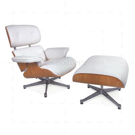 white chair and ottoman eames style lounge chair and ottoman white leather ash
