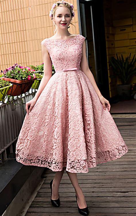 Lace Midi Cocktail Dress macloth cap sleeves lace cocktail dress pink midi wedding