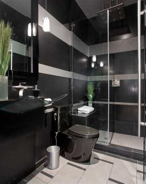 black bathroom fixtures and decor keeping modern bathroom