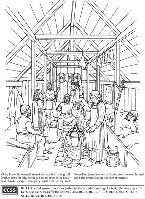 coloring pages longhouse boost story of the vikings coloring book dover
