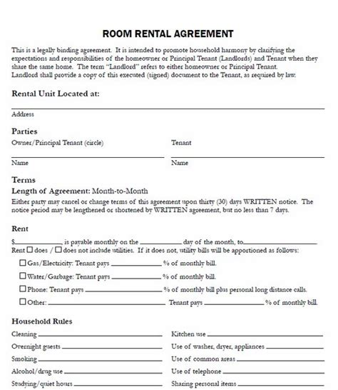 landlords contract template printable sle free printable rental agreements form