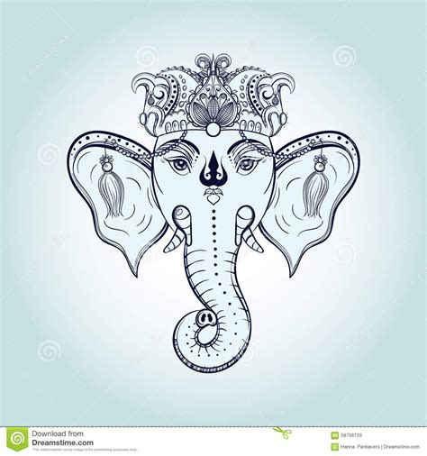hand drawn elephant head indian god lord hindu deity