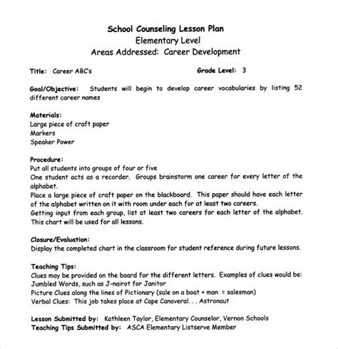 school counseling lesson plan template middle school lesson plan template 7 free