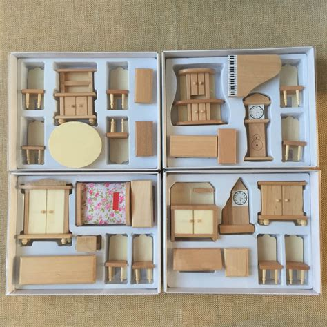 wooden doll houses with furniture 29pcs set dollhouse miniature unpainted wooden furniture suite 1 24 scale model ebay
