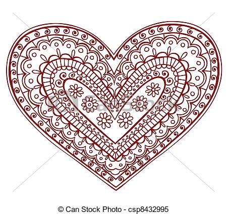 clipart vector van henna mehndi tatoe 235 ren hart