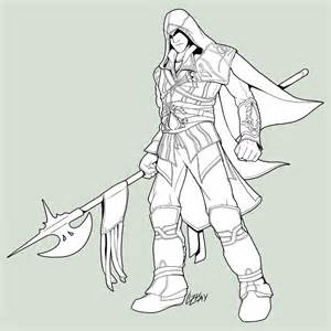 ezio lineart coloring printable coloring pages kids girls