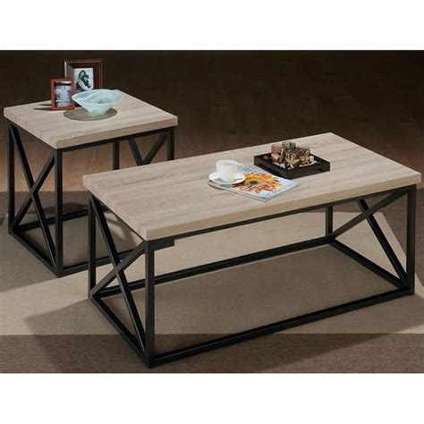 jofran 3 pc x side occasional ash coffee table set